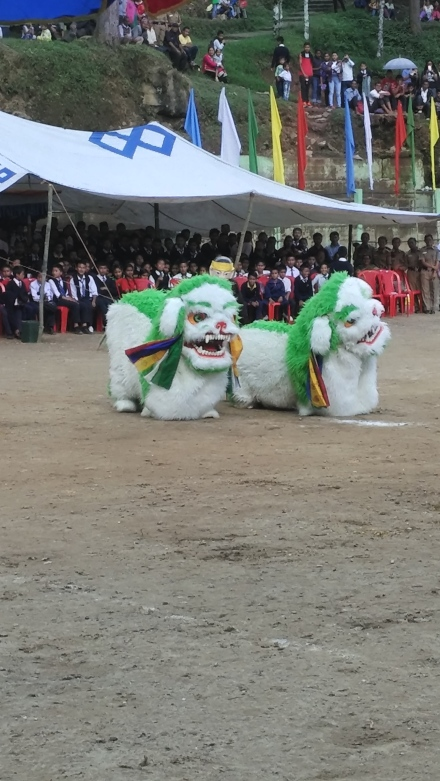 The snow lion dance is part of December celebrations in Sikkim
